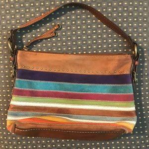 Fossil rainbow striped shoulder bag